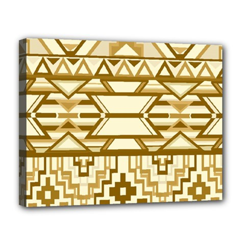 Geometric Seamless Aztec Gold Canvas 14  X 11