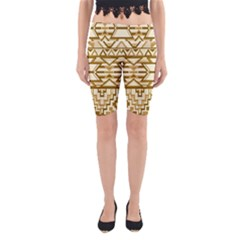 Geometric Seamless Aztec Gold Yoga Cropped Leggings by Mariart