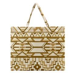 Geometric Seamless Aztec Gold Zipper Large Tote Bag by Mariart