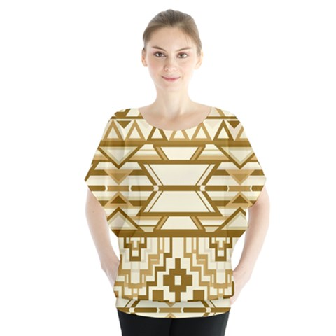 Geometric Seamless Aztec Gold Blouse by Mariart
