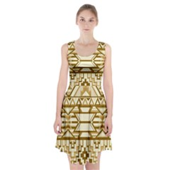 Geometric Seamless Aztec Gold Racerback Midi Dress