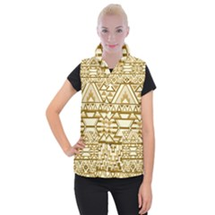 Geometric Seamless Aztec Gold Women s Button Up Puffer Vest by Mariart