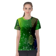 Geometric Shapes Letters Cubes Green Blue Women s Sport Mesh Tee by Mariart