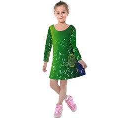 Geometric Shapes Letters Cubes Green Blue Kids  Long Sleeve Velvet Dress by Mariart