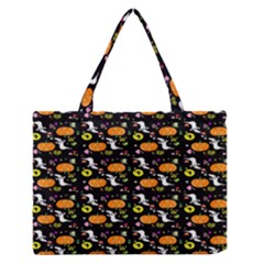Ghost Pumkin Craft Halloween Hearts Medium Zipper Tote Bag by Mariart