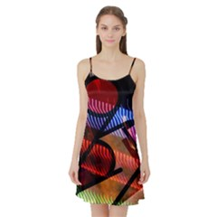 Graphic Shapes Experimental Rainbow Color Satin Night Slip by Mariart
