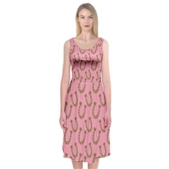 Horse Shoes Iron Pink Brown Midi Sleeveless Dress by Mariart