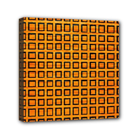 Halloween Squares Plaid Orange Mini Canvas 6  X 6  by Mariart