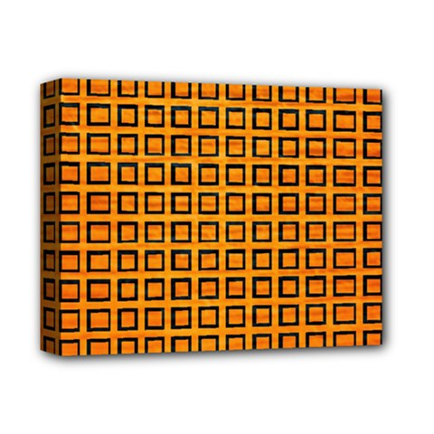 Halloween Squares Plaid Orange Deluxe Canvas 14  X 11  by Mariart