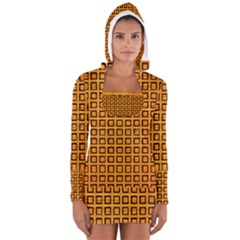 Halloween Squares Plaid Orange Women s Long Sleeve Hooded T-shirt by Mariart