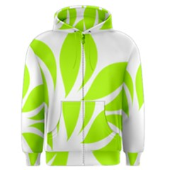 Leaf Green White Men s Zipper Hoodie by Mariart