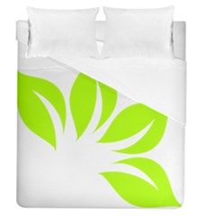 Leaf Green White Duvet Cover (queen Size)