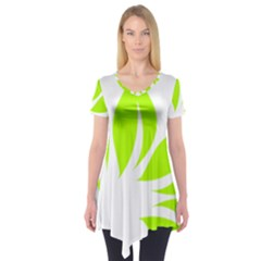 Leaf Green White Short Sleeve Tunic  by Mariart