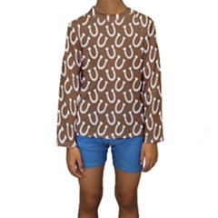 Horse Shoes Iron White Brown Kids  Long Sleeve Swimwear by Mariart