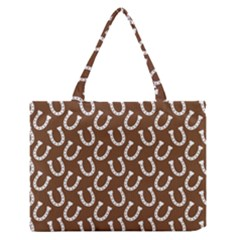 Horse Shoes Iron White Brown Medium Zipper Tote Bag by Mariart