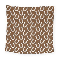 Horse Shoes Iron White Brown Square Tapestry (large)