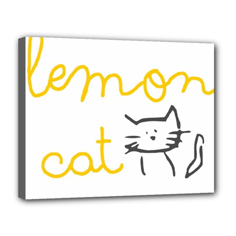 Lemon Animals Cat Orange Canvas 14  X 11  by Mariart