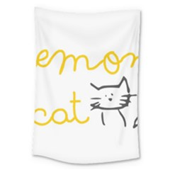 Lemon Animals Cat Orange Large Tapestry by Mariart
