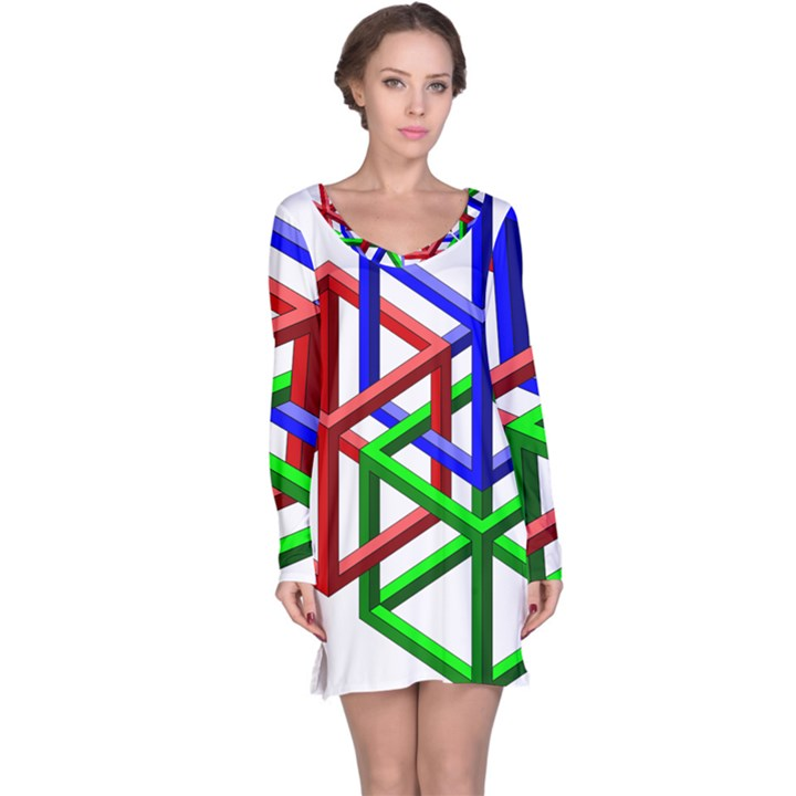 Impossible Cubes Red Green Blue Long Sleeve Nightdress