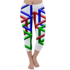 Impossible Cubes Red Green Blue Capri Winter Leggings  by Mariart