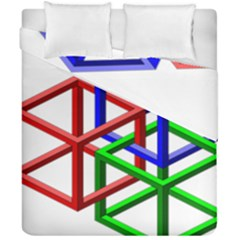 Impossible Cubes Red Green Blue Duvet Cover Double Side (california King Size) by Mariart