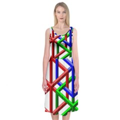 Impossible Cubes Red Green Blue Midi Sleeveless Dress