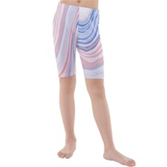 Marble Abstract Texture With Soft Pastels Colors Blue Pink Grey Kids  Mid Length Swim Shorts by Mariart