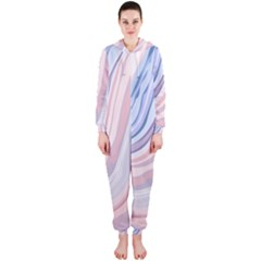 Marble Abstract Texture With Soft Pastels Colors Blue Pink Grey Hooded Jumpsuit (ladies)