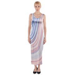 Marble Abstract Texture With Soft Pastels Colors Blue Pink Grey Fitted Maxi Dress by Mariart