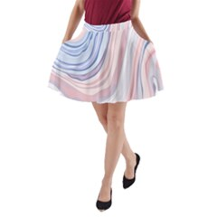 Marble Abstract Texture With Soft Pastels Colors Blue Pink Grey A Line Pocket Skirt by Mariart