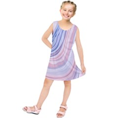 Marble Abstract Texture With Soft Pastels Colors Blue Pink Grey Kids  Tunic Dress by Mariart