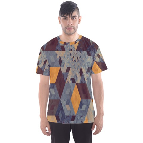 Apophysis Isometric Tessellation Orange Cube Fractal Triangle Men s Sport Mesh Tee by Mariart