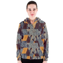 Apophysis Isometric Tessellation Orange Cube Fractal Triangle Women s Zipper Hoodie by Mariart