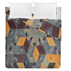 Apophysis Isometric Tessellation Orange Cube Fractal Triangle Duvet Cover Double Side (queen Size) by Mariart