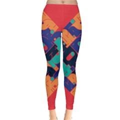 Plaid Red Sign Orange Blue Leggings  by Mariart