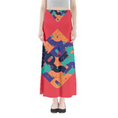 Plaid Red Sign Orange Blue Maxi Skirts by Mariart