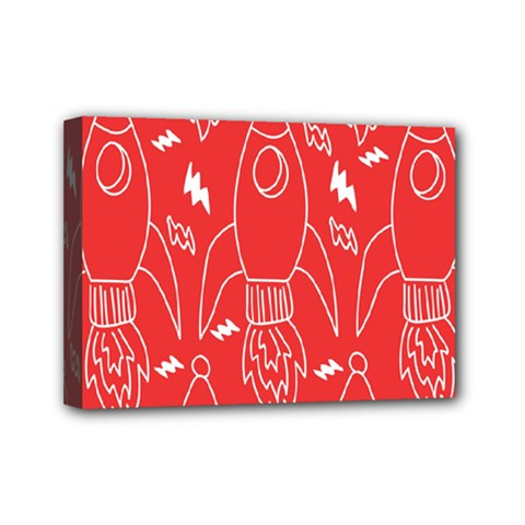 Moon Red Rocket Space Mini Canvas 7  X 5  by Mariart