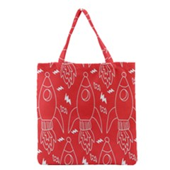 Moon Red Rocket Space Grocery Tote Bag by Mariart