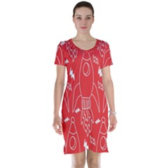 Moon Red Rocket Space Short Sleeve Nightdress by Mariart