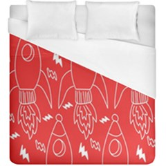 Moon Red Rocket Space Duvet Cover (king Size) by Mariart