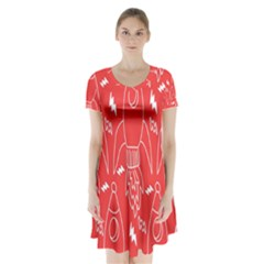 Moon Red Rocket Space Short Sleeve V Neck Flare Dress by Mariart