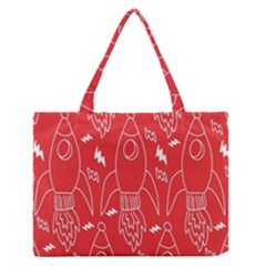 Moon Red Rocket Space Medium Zipper Tote Bag by Mariart
