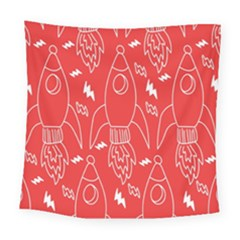 Moon Red Rocket Space Square Tapestry (large) by Mariart