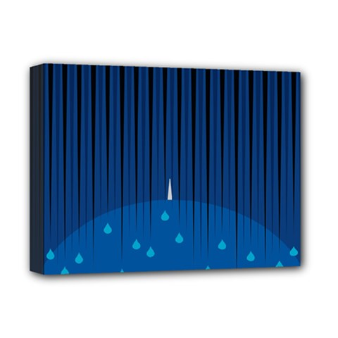 Rain Blue Sky Water Black Line Deluxe Canvas 16  X 12   by Mariart