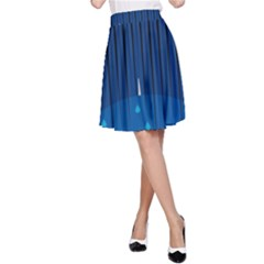 Rain Blue Sky Water Black Line A-line Skirt by Mariart