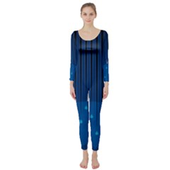Rain Blue Sky Water Black Line Long Sleeve Catsuit by Mariart