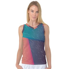 Modern Minimalist Abstract Colorful Vintage Adobe Illustrator Blue Red Orange Pink Purple Rainbow Women s Basketball Tank Top by Mariart