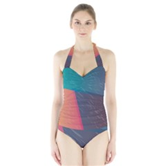 Modern Minimalist Abstract Colorful Vintage Adobe Illustrator Blue Red Orange Pink Purple Rainbow Halter Swimsuit by Mariart