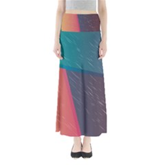 Modern Minimalist Abstract Colorful Vintage Adobe Illustrator Blue Red Orange Pink Purple Rainbow Maxi Skirts by Mariart
