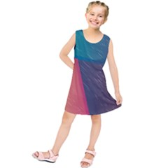 Modern Minimalist Abstract Colorful Vintage Adobe Illustrator Blue Red Orange Pink Purple Rainbow Kids  Tunic Dress by Mariart